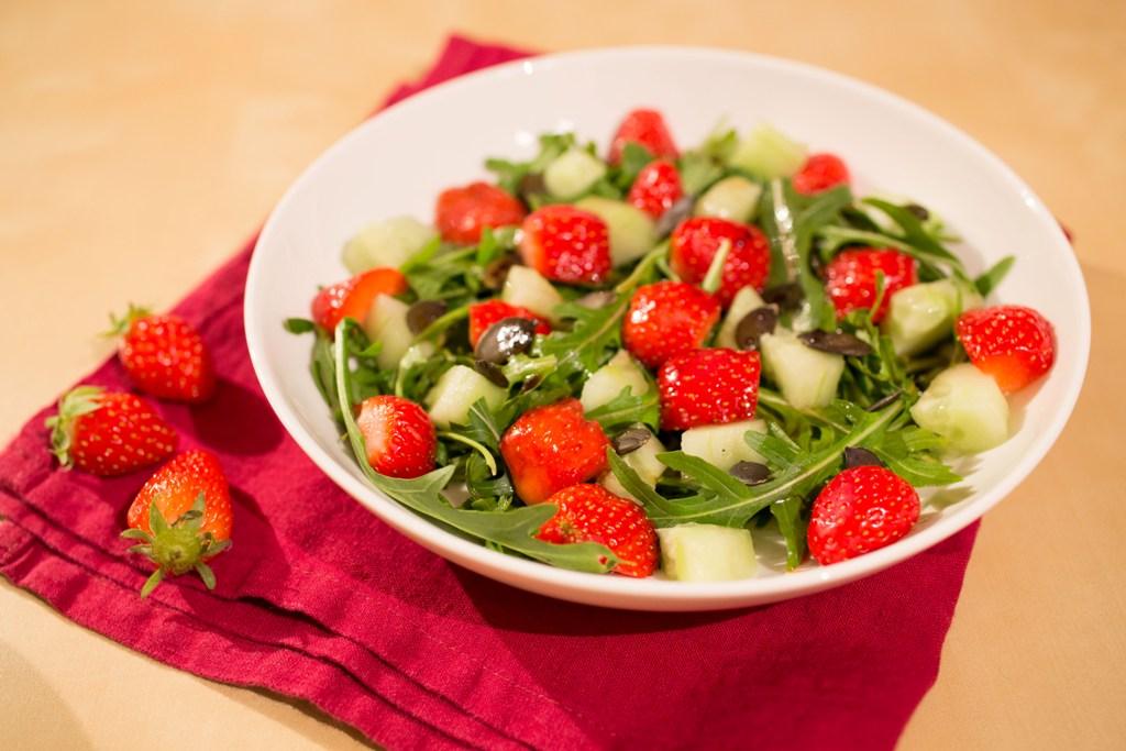Salade de roquette et de fraises